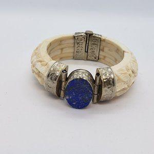 Vintage * Bone & Lapis Lazuli Handmade Bracelet